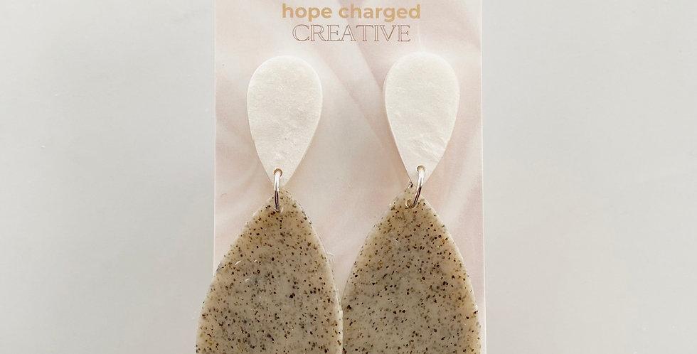 Pearl & Stone Drops   Clay Earrings