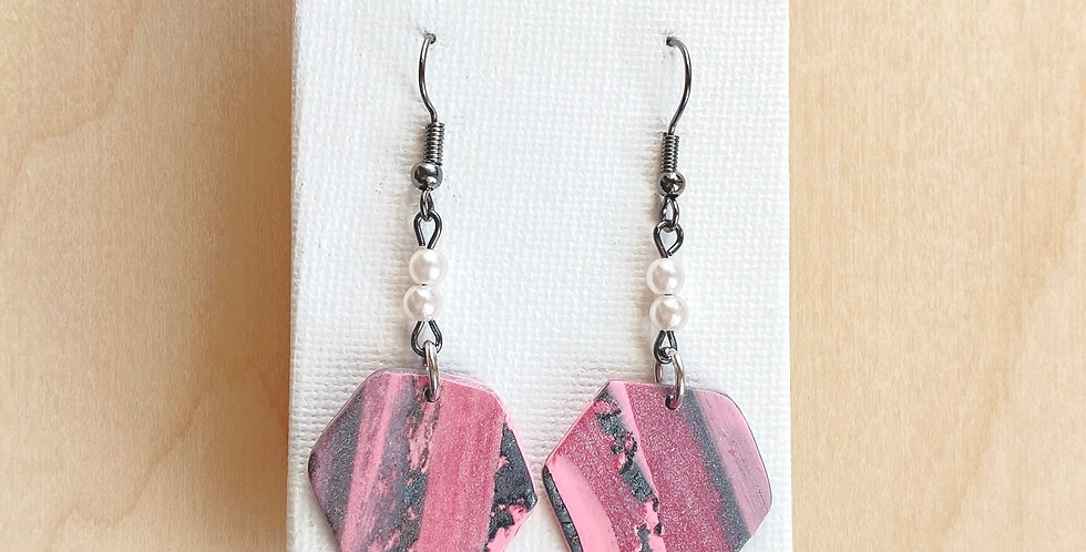 Joyful Mystery Hexagons | Clay Earrings