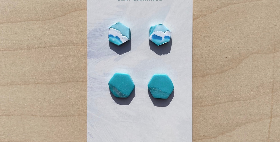 Aqua Cute Hexagons | Clay Earrings