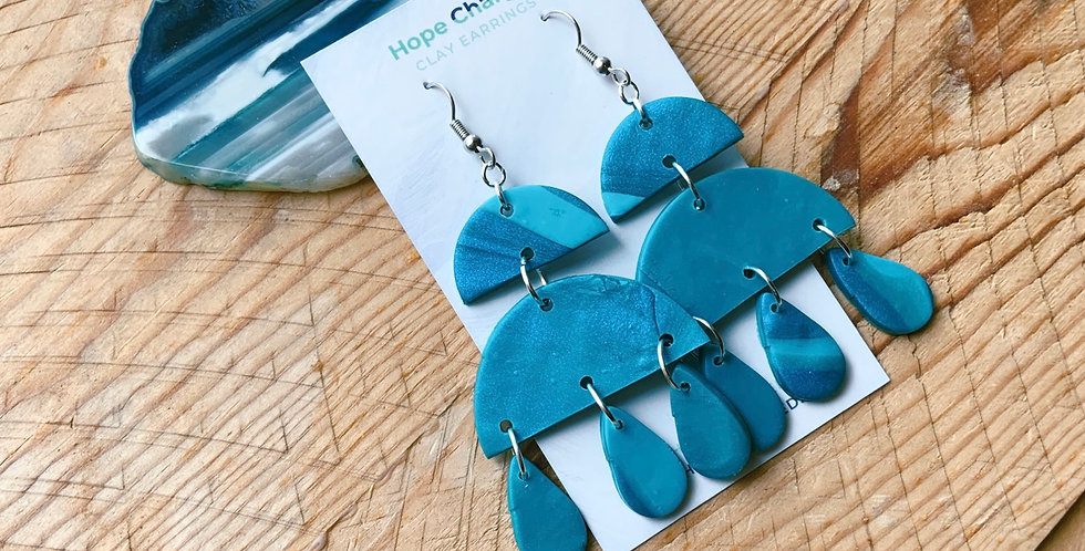 Free Blue | Chandelier Collection | Clay Earrings