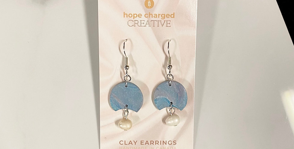 Freshwater Pearl & Marble | Clay Earrings