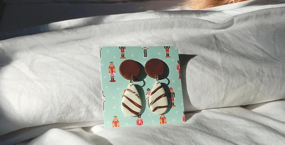 Xmas Chocolate Cookie • Clay Earrings