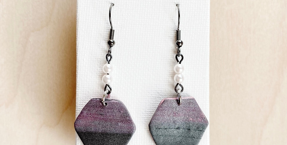 Joyful Mystery Hexagons   Clay Earrings