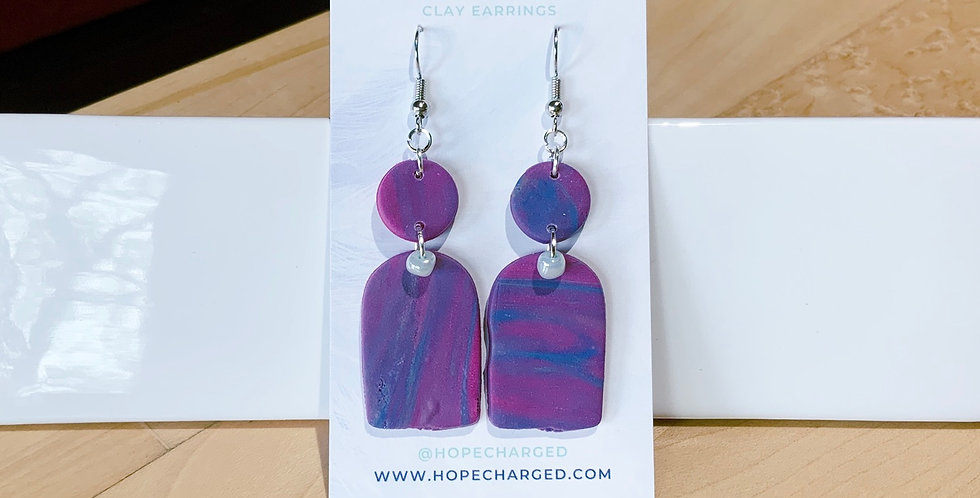 Playful Marble | Banner Style | Clay Earrings