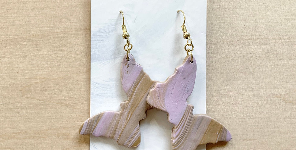 Lavender Latte Butterfly | Clay Earrings