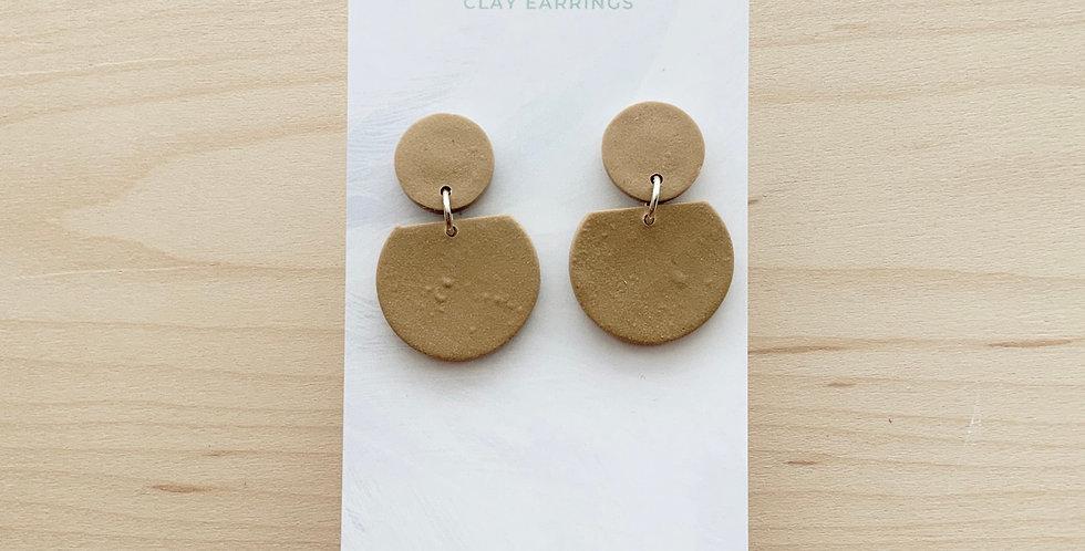 Latte Coloured Circle Drops | Clay Earrings