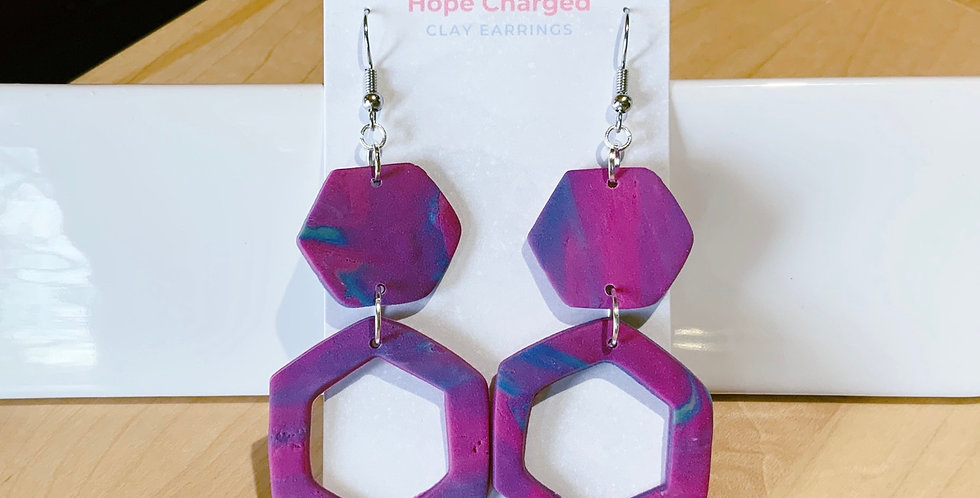 Royal Incense | Abstract Hexagon VI | Clay Earrings