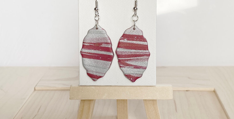 Striped in Silver | Clay Earrings