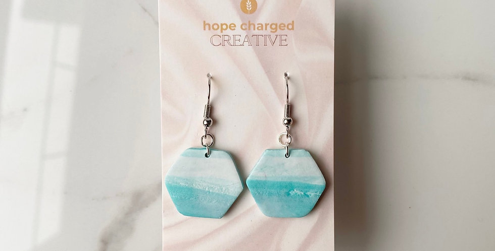Ocean Views Hexagons | Clay Earrings