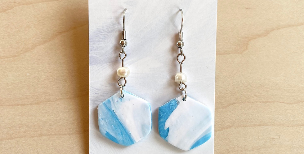 Freshwater Hexagon Drops | Clay Earrings
