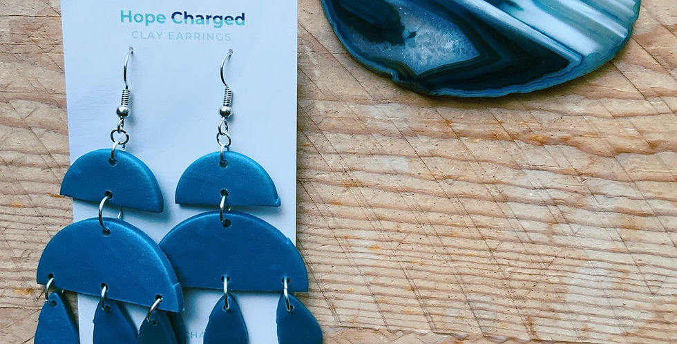 Pearlescent Blue | Chandelier Collection | Clay Earrings