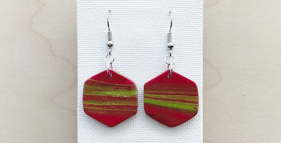 Touch of Christmas Hexagons | Clay Earrings