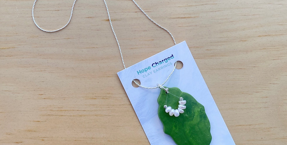 Pearlescent Green Leaf | Clay Necklace