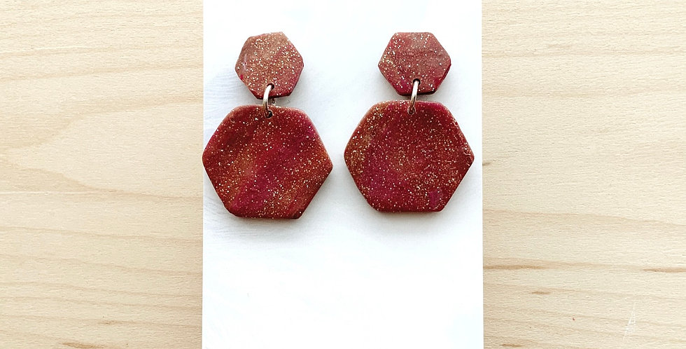 Rosey Hexagons | Clay Earrings