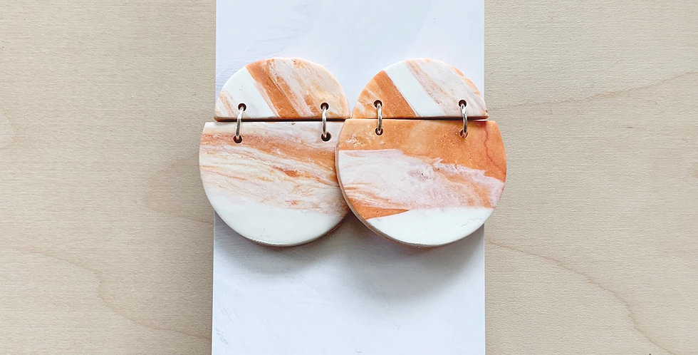 Pumpkin Spice Marble  | Clay Earrings