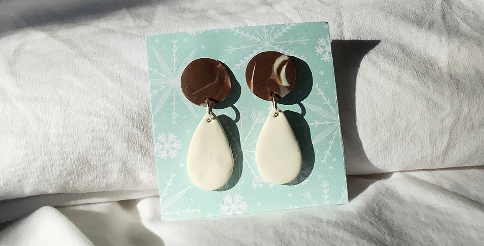 Xmas Chocolate Marble • Clay Earrings