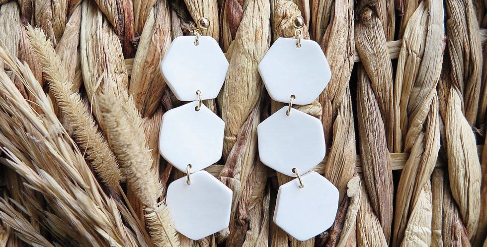 Original Flipping Hexagons | Clay Earrings