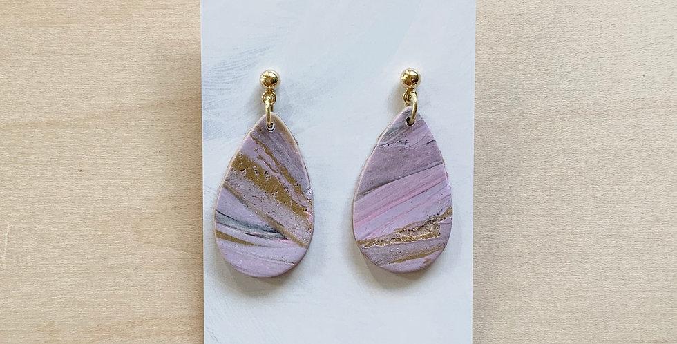 Lavender Latte Drops   Clay Earrings