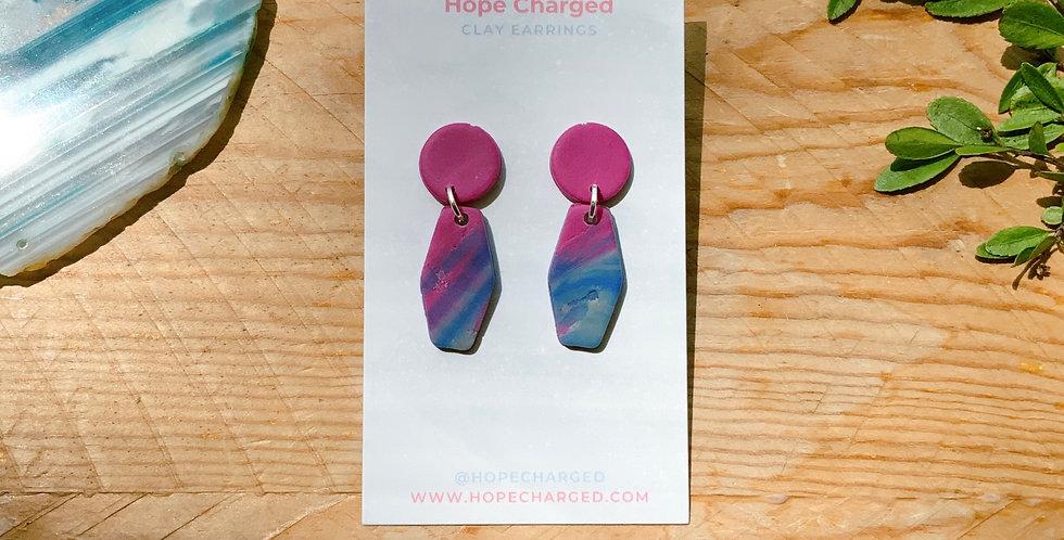 Waves of Joy | Hexagon Style | Clay Earrings
