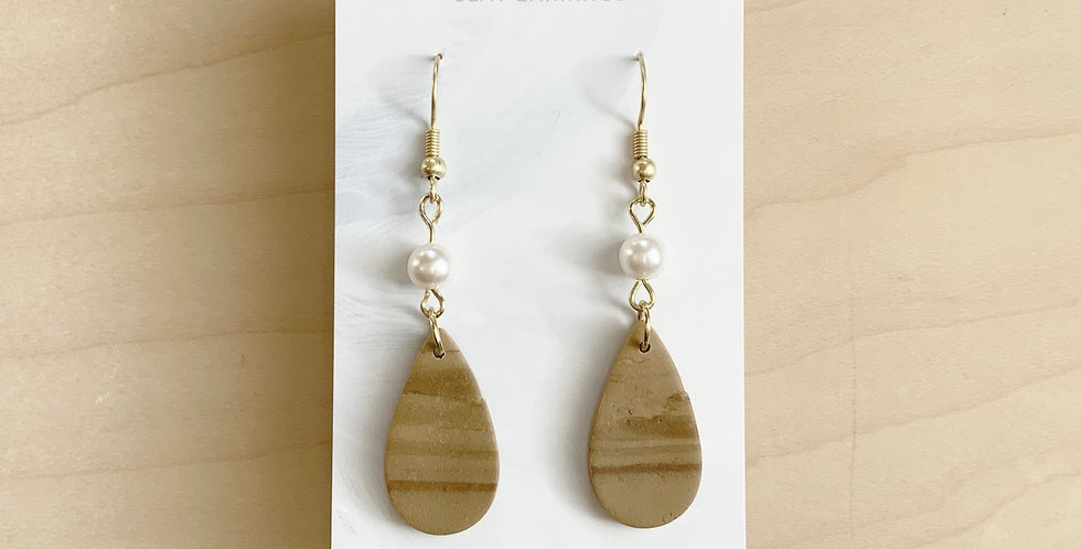 Latte & Pearl Drops | Clay Earrings