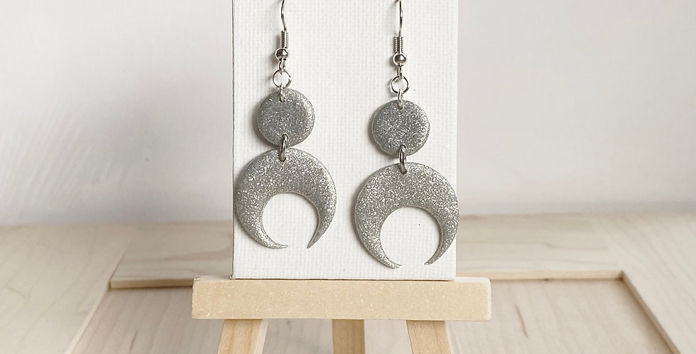 Sparkling Over the Winter Moon | Clay Earrings
