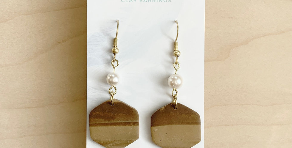 Chocolate & Pearl Hexagon Drps | Clay Earrings