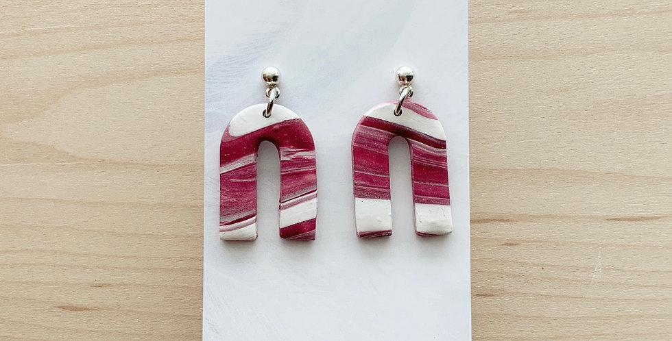 Candy Cane Marble Arches | Clay Earrings