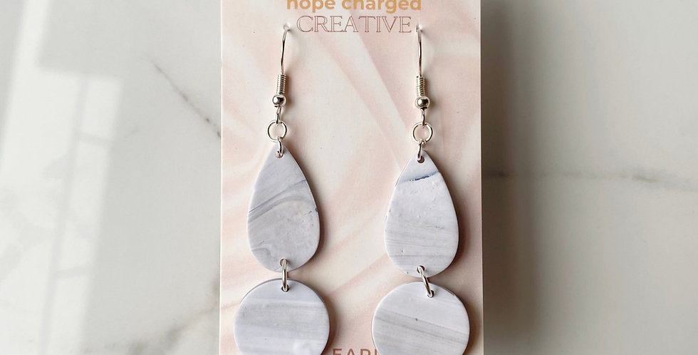 Light Marble | Clay Earrings