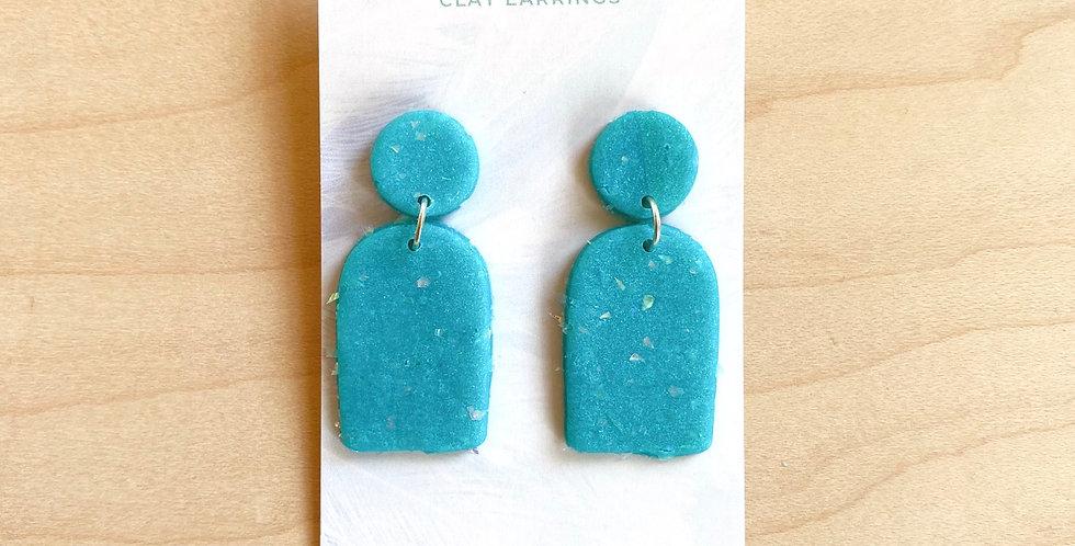 Aqua Mini Arch   Clay Earrings