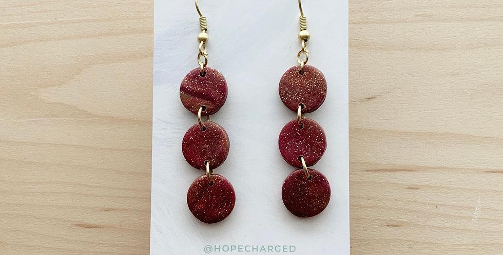 Rosé Marble Mini Three Sisters | Clay Earrings