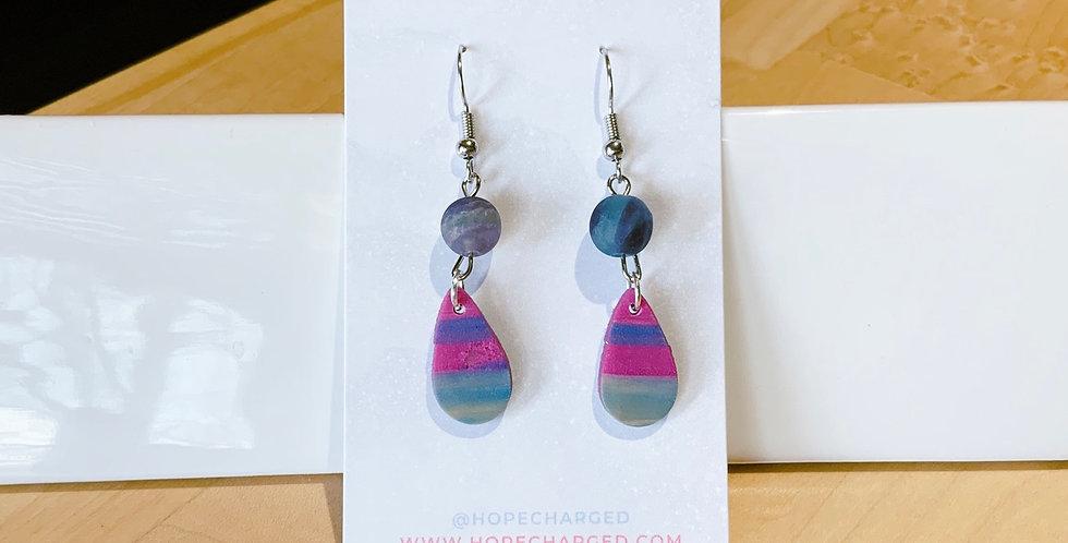 Mini Drop & Bead | Abstract Drop III | Clay Earrings