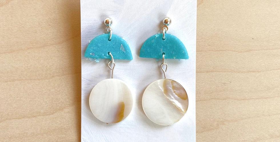 Aqua & Shell Drops | Clay Earrings