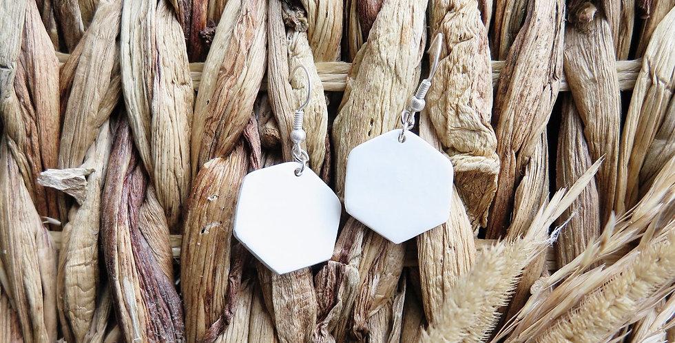 Original Hexagon Drops   Clay Earrings