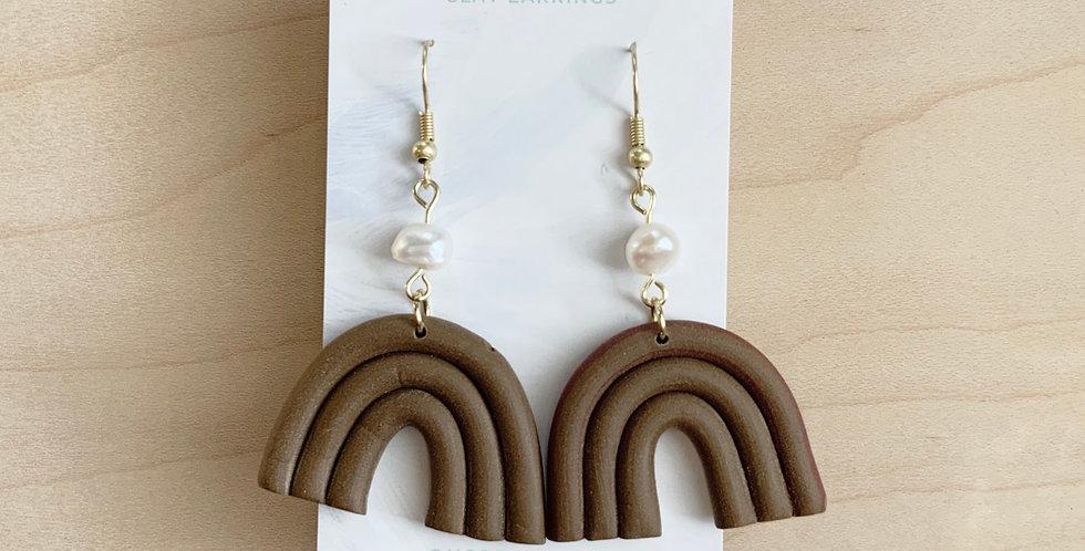 Dreamy Chocolate & Pearl Rainbows | Clay Earrings