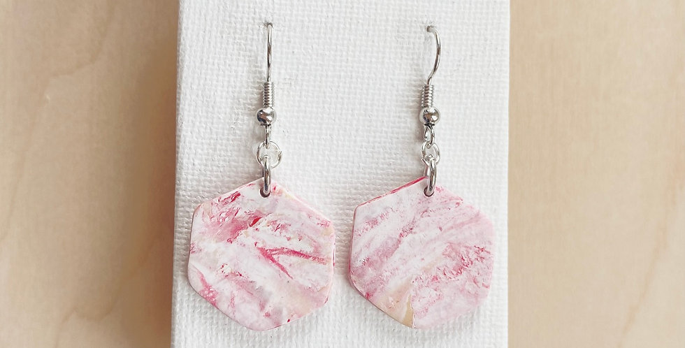 Joyful Marble Hexagons | Clay Earrings