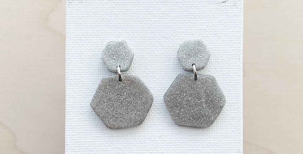Glistening Hexagons | Clay Earring
