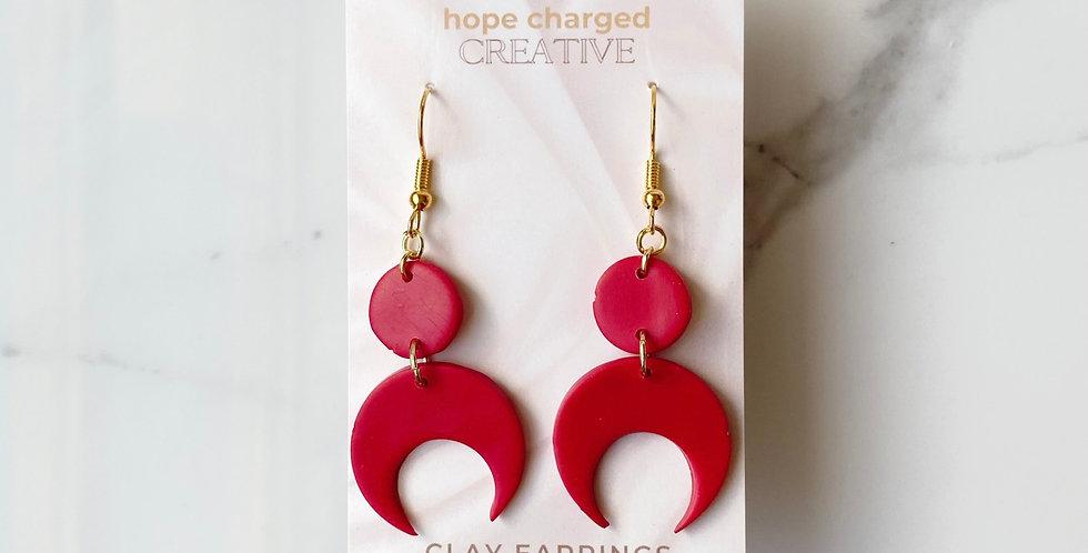 Over the Moon in Carmine | Clay Earrings