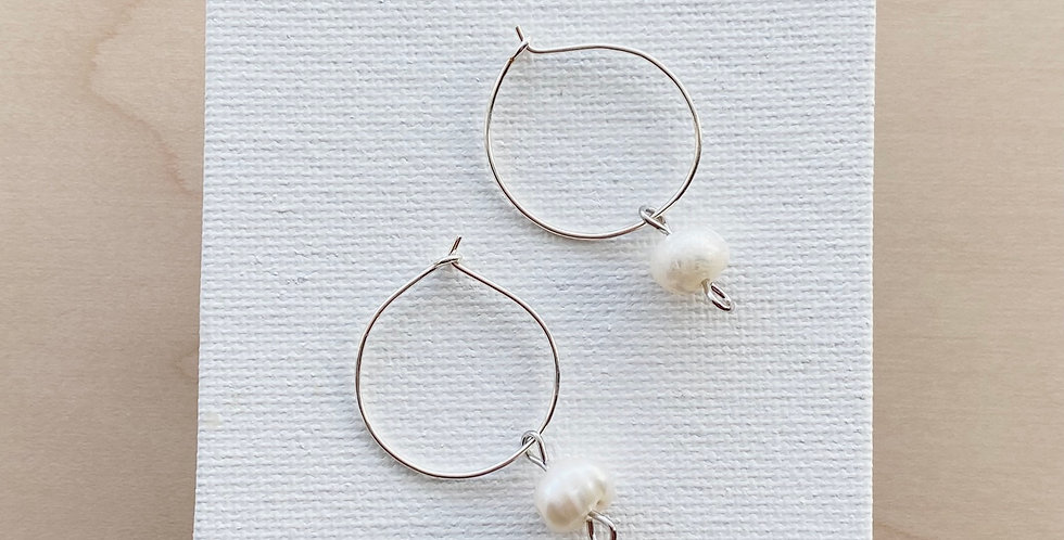 Small Peaceful Pearls   Clay Earrings