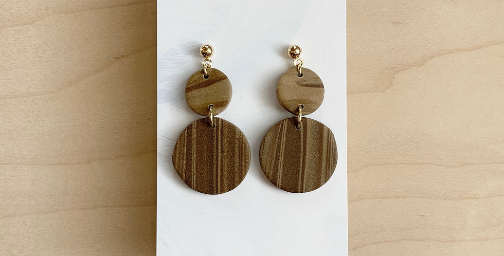 Striped Mocha Drops | Clay Earrings