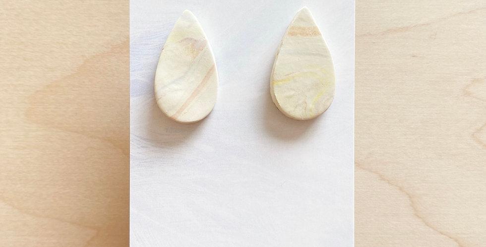 Golden Marble Drops | Clay Earrings