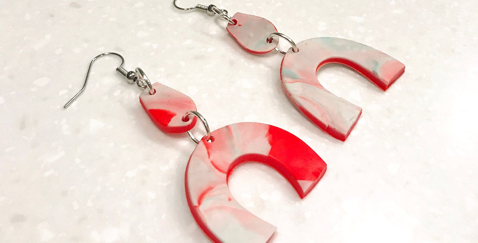 Red Marble | Clay Statement Earrings