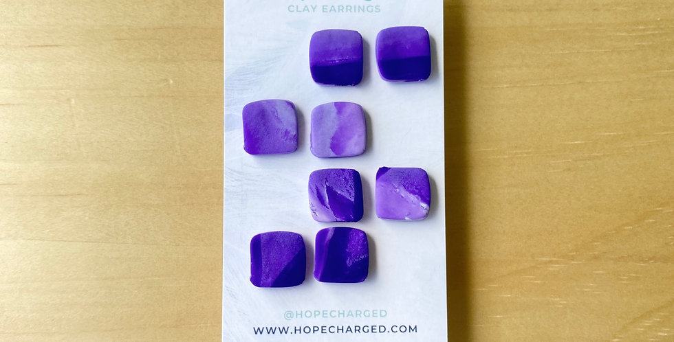 The Square Studs | Amethyst Collection