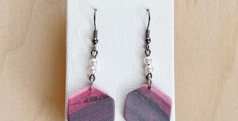 Joyful Mystery Hexagons | Clay Earrings