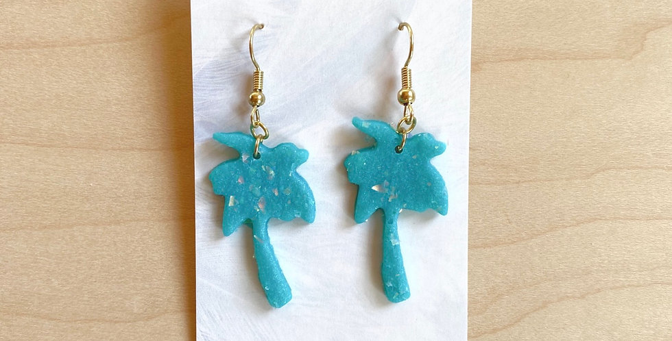 Aqua & Opal Palm Trees | Clay Earrings