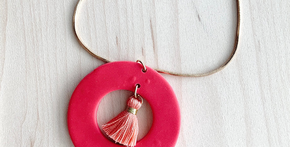 Carmine & Coral Tassel | Clay Necklace