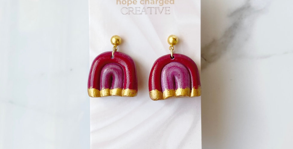XL Dreamy Rainbows Dipped in Gold | Clay Earrings