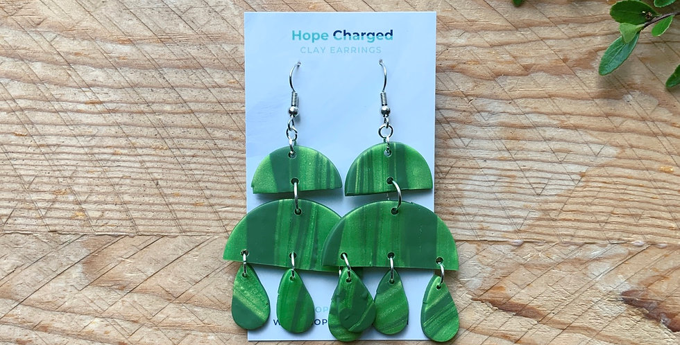 Bright Greenery | Chandelier Collection | Clay Earrings