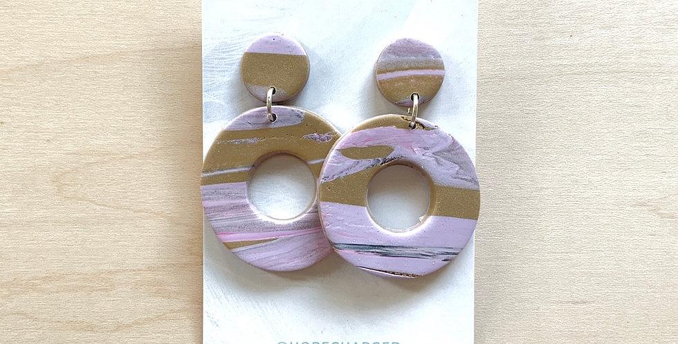 Lavender Latte Hoops | Clay Earrings