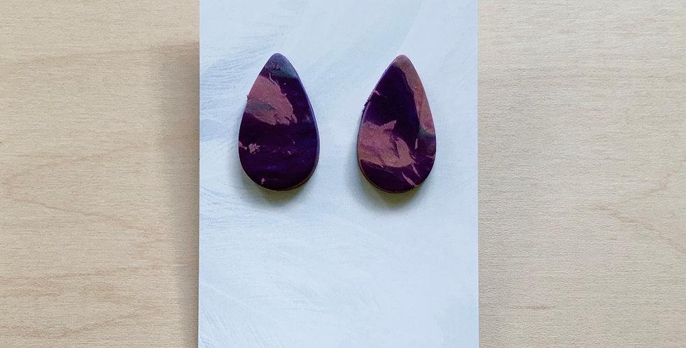 Vintage Marble Drops   Clay Earrings