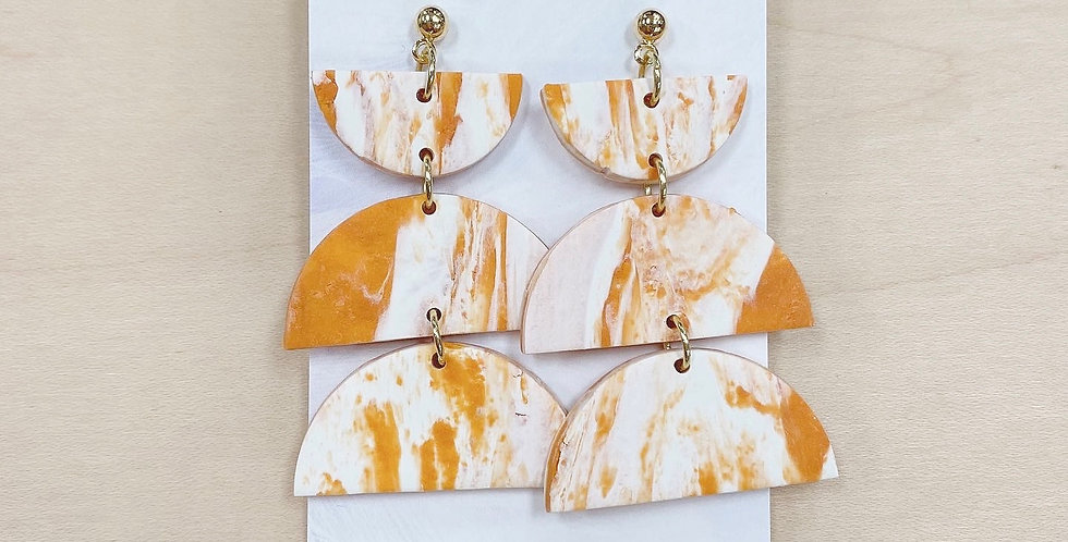 Full Pumkpin Spice Marble | Clay Earrings